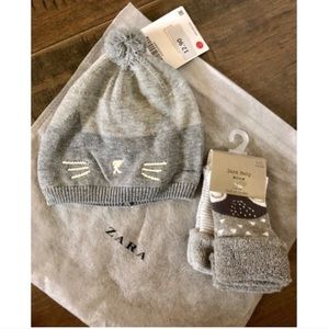 Zara baby embroidered hat+ 2 pack socks NWT💫